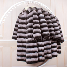 2016 new large size natural genuine fur rex rabbit fur coat the whole skin long outerwear trench coat Totoro woman 95cm clothing