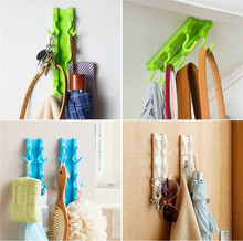 Kitchen cabinets ceiling hook with 6 hooks Desk Cupboards Hanging Rack Wall Mounted Self Adhesive Up Wall Hook