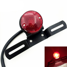 Motorcycle Tail Light Brake Rear License Plate Bracket Stop Tail Lamp 12V Red for Harley Choppers Custom Bobber Cafe Racer 883(China)