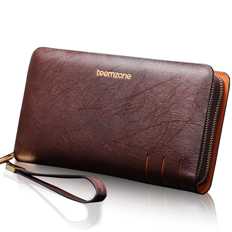 teemzone  New Men Fashion Genuine Leather Cowhide Classic Business Type Mens Clutch Bag Long Wallet with Zipper Closure JJ15<br>