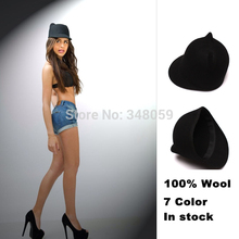 2015 New Fashion 100% Wool Women's Fedora Hat Winter Mickey Cat ear animal Cap with Devil Horns Ear IN Stock(China)