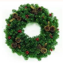 45cm 50cm 60cm Bright Colour Artificial -Christmas-Tree with Pine Cones & Crabapple Creative Plastic Christmas Decoration Wreath