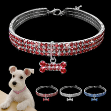 Buy Rhinestone Dog Necklace Girl Puppy Pet Collar Cat Bling Durable Jewelry Collar Crystal Bone Charm Pendant Yorkshire Pink for $3.99 in AliExpress store