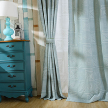 Blue Curtain blackout fabric Cloth White Sheer Tulle Curtains Window Treatment Valances for kitchen Blinds for doorway WP308 #20