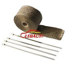 "Ledaut 2""X16' Titanium Exhaust Heat Wrap Exhaust Pipe Heat Shield with 8"" Stainless Steel Ties Car Motorcycle Accessories"