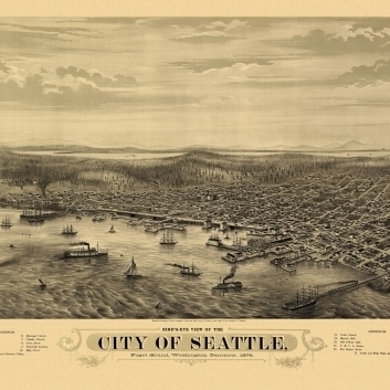 Antique Map of Seattle Washington 1878 King County Poster Print (36 x 54)