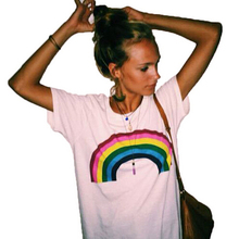 Rainbow Printed Crop Tees Summer Women T shirts 2018 Fashion Round Neck Short Sleeve White Casual T-Shirt(China)
