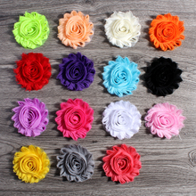 "50pcs/lot 2.6"" 15colors Fashion Chic Shabby Chiffon Flowers For Kids Hair Accessories 3D Frayed Fabric Flowers For Headbands"