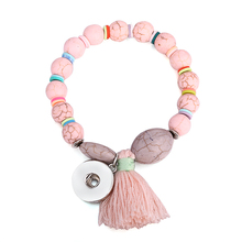 Cracked Stone Pink Beaded Snap Bracelet for Women Handmade Bracelets fit 18mm/20mm DIY Snap Buttons