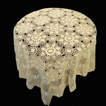 120cm Square Shape Hand made Crochet Vintage Knit Retro Decorative Hook Engraving Flower Weaved/Knitted Round Tablecloth(China)