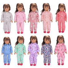 Fashion Doll Pajamas Clothes Set for 18'' American Girl Dolls Sleepwear Nightwear Colorful Children Gift Toy Dolls Accessories