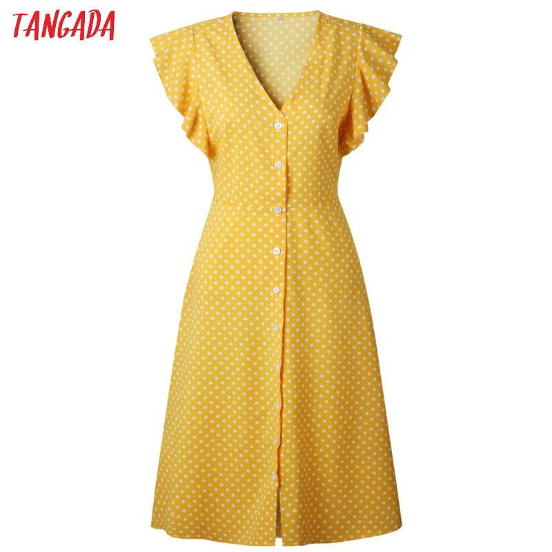 HTB1hQaAkGAoBKNjSZSyq6yHAVXaE - Tangada polka dot dress for women office midi dress 80s 2018 vintage cute A-line dress red blue ruffle sleeve vestidos AON08