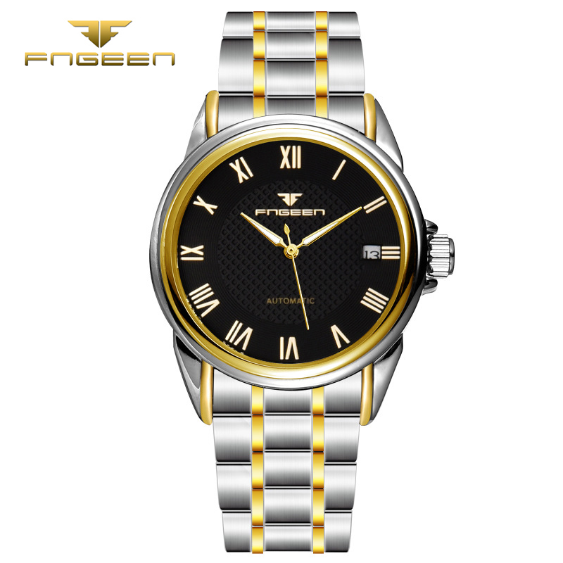FNGEEN Men Fashion Automatic Roman numbers Watch datejust Mechanical wristwatch top quality mens famous waterproof clock vintage<br><br>Aliexpress