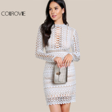 Buy COLROVIE Circle Guipure Lace Dress 2017 Sexy Cut Women Bodycon White Overlay Dresses Fall Fashion Zip Elegant Party Dress for $30.89 in AliExpress store