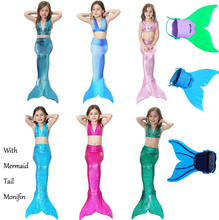 2017 New Girls Halloween Ariel Princess Mermaid Cosplay Costume Kids Fanny Swimmable Bikini Mermaid Tail Swimsuit with Monifin
