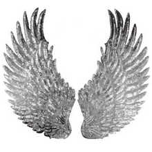 1 Pair Embroidered Sequins Angel Wing Iron Sew on Patches Clothing DIY Applique For Cloth Decoration(China)