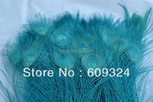 Wholesale Free Shipping 100 pcs/lot 10-12inches dyed Peacock feather Turquoise Peacock feather for crafts costumes