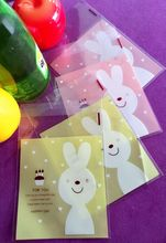 50pcs/dozen Cute little bunny baking cookies bags small backages of candy backages gift bags moon cake bags Handmade bags