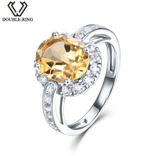 DOUBLE-R 2.66ct Oval Genuine Natural Citrine Ring 925 Sterling Silver Fine Engagement Wedding Jewelry Ring for women(China)
