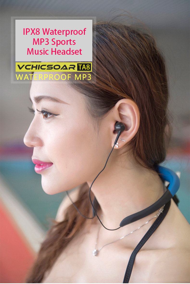 Vchicsoar IPX8 Waterproof 8GB Underwater Sport MP3 Music Player Neckband Headphones Headset with FM Audio for Diving Swimming