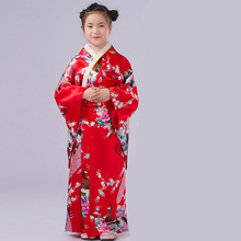 Hot Sale Red Vintage Japanese Baby Girl Kimono Kid Yukata Girl Dance Classic Child Cosplay Evening Dress Quimono One Size L3K02C