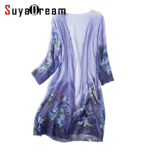 Women Silk Blouse 100% NATURAL SILK FLoral Print Cheer chiffon Fashion Transparent blouse shirt Blusas femininas 2017 Spring