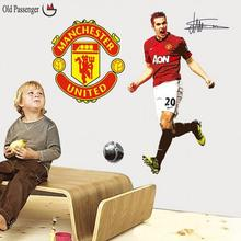 Old Passenger _ Football Soccer ball through the wall stickers TV background Removable living room bedroom For Kids Rooms