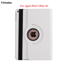 "Viviration 360 Rotating Good Use Tablet Case For Apple iPad Air / iPad 5 Luxury Smart Flip Stand Cover 9.7"" Hard Tablet Cover(China)"