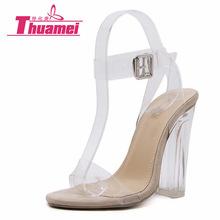 Women Sandals Ankle Strap Platform Perspex High Heels PVC Clear Crystal Classic Buckle Strap Fashion Shoes Woman #Y0593066G