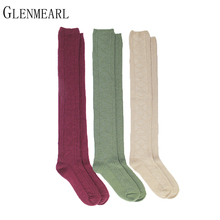 3pairs/lot Wome Stockings Compression Fashion Brand Coolmax Fall Winter Warm Thick Hosiery Female High Knee Boot Long Stockings(China)