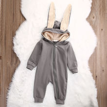2017 Cute Infant Baby Girl Boy Clothes Cute 3D Bunny Ear Romper Jumpsuit Playsuit Autumn Winter Warm Bebes Rompers One Piece(China)