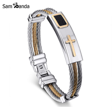 2017 New Gold Jesus Cross Bracelet Men Jewelry Stainless Steel Mens Rock Bracelets & Bangles Leather Pulseira Masculina YK3020(China)