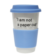 "Free Shipping 360ml Capacity Silicone Lid and Sleeve Ceramic Coffee Cup ""I am not a paper cup"" Personality Cup(China)"