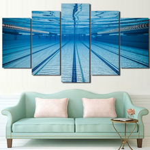 HD Printed Paintings Wall Art Cuadros Frame Canvas Living Room 5 Panel Swimming Pool Underwater Pictures Home Decor Modern(China)