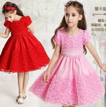 Graceful little girls party dresses toddler baby  rosette flower floral wedding pageant formal dress kids princess dress clothes