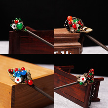 Old Chinese Wind nature stones leaf hairpin ,Chalcedony butterfly ethnic hair accessories, vintage classical hair stick(China)