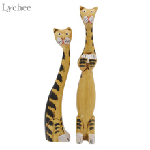 Lychee 1 Pair Creative Wooden Cat Event Party Supplies Furnishing Articles Party Holiday DIY Decorations
