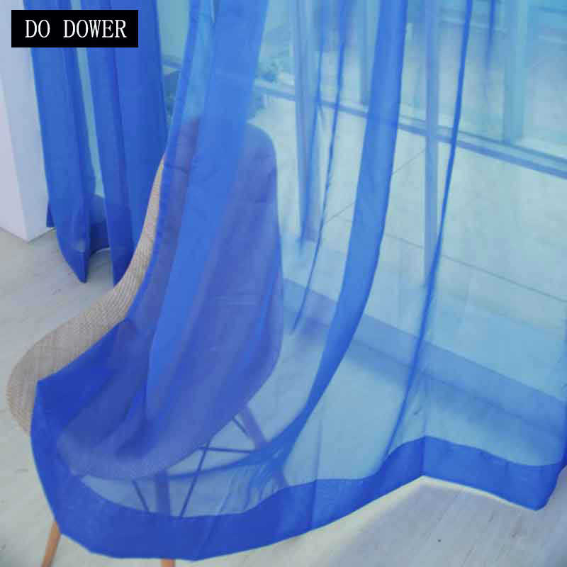 1pcs Rod type solid tulle Modern Window Screening Curtains for Living Room solid color window treatments Blue Color