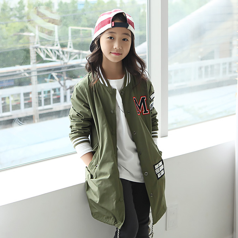 children baseball jackets for little teenage girls green blue autumn windbreaker winter clothing for girls coats sports clothes<br><br>Aliexpress
