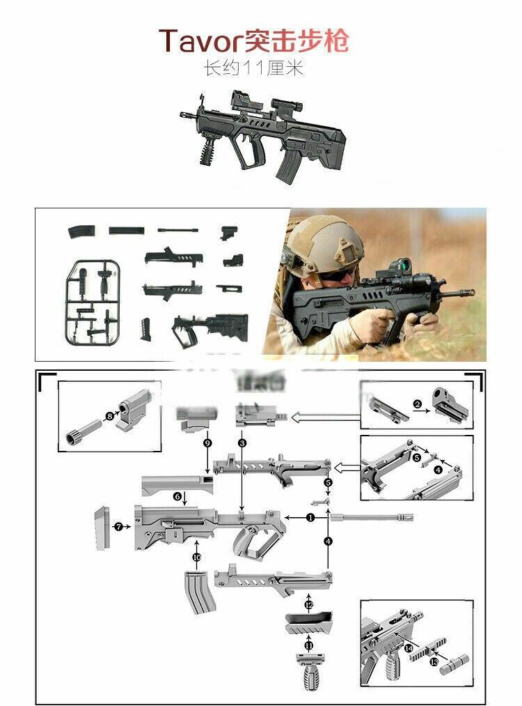 1:8 SCALA Armi Pistola Fucile d/'assalto GIOCATTOLI Models MITRA Gatlin Soldato Esercito
