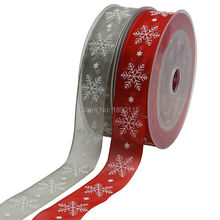 20 Meters Printed Organza Christmas Ribbons Christmas Snowflake 25mm Wide For Gift Wrapping Tree Decoration Free Shipping(China)