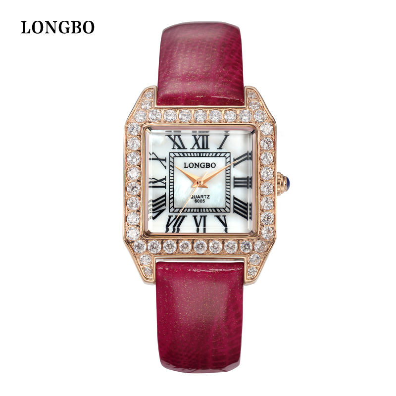 LONGBO Luxury Leather Water Resistant Sports Women Wrist Watch,Womens Inveted Square Diamond Dial Ladies Quartz Watch 6005<br>