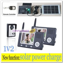 Newest Solar power charger Video intercom systems/wireless door bell /monitor camera record with remote control free shipping