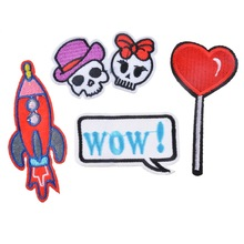 Urijk Mixed 4Pcs Patches For Clothes Hat Backpack Veat Iron On Applique Letter Stripes Embroidery Sewing Accessories(No Card)