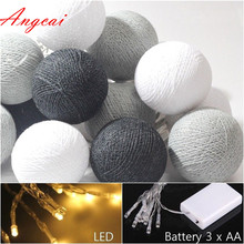 Mixed 20 Black Gray white cotton ball led battery powered String Lights Fairy, Decor party wedding patio xmas gift