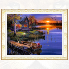 Lakeside cabin home decor diy diamond painting full diamond embroidery mosaic pictures of rhinestones landscape wall art D070