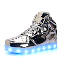 25-40 Size/ USB Charging Basket Led Children Shoes With Light Up Kids Casual Boys&Girls Luminous Sneakers Glowing Shoe enfant(China)
