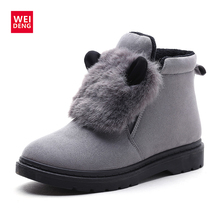 WeiDeng Winter Keep Warm Cute Natural Rabbit fur Martin Snow Boots Suede Ankle Boots Plush Thickening Women Fashion  Shoes