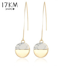 17KM Steampunk Earrings Geometric Gold Color White Stone Drop Earrings For Women Vintage Indian Long Pendant Dangle Earring(China)