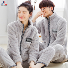 JCVANKER Winter Couples Pajamas Set For Women Man Zipper Pocket Turn down Collar Plush Villous Cotton Warm Sleepwear Pyjama Suit